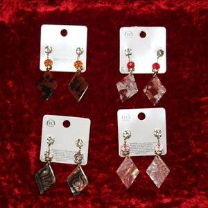 Diamond Shaped Marbled Resin Dangle Earrings